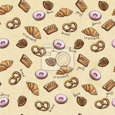 Aquarell Nahtlose Muster Hintergrund Skizze der Bäckerei Produkte - Croissant, Puff, Donut, Brötchen, Brezel mit Schriftzug Design-Element für für Textilien, Werbung, Broschüren, Menü