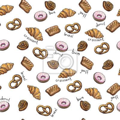 Aquarell Nahtlose Muster Hintergrund Skizze der Bäckerei Produkte - Croissant, Puff, Donut, Brötchen, Brezel mit Schriftzug Design-Element für für Textilien, Werbung, Broschüren, Menü auf weiß