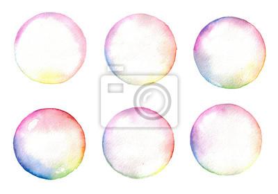 Aquarell Regenbogen Seife Bubbles gesetzt isoliert