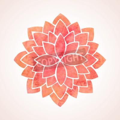 Poster Aquarell roten Lotusblumenmuster auf weißem Hintergrund