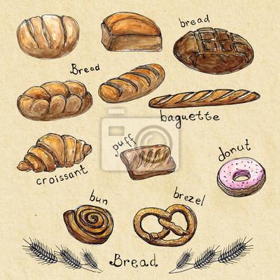Aquarell-Skizze Hand Satz von Backwaren gezogen - Brot, Baguette, Croissants, Blätterteig, Krapfen, Brötchen, Brezel isoliert. Design-Element für Textilien, Werbung, Broschüren, Menü