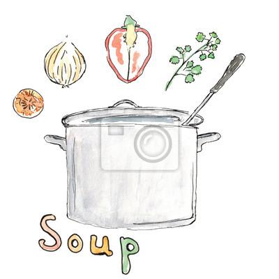 Aquarell Skizze Karotte Zwiebel Paprika Petersilie Suppe Rezept