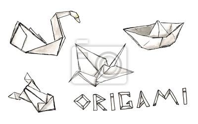 Aquarell Skizze Origami-Set mit Schriftzug isoliert