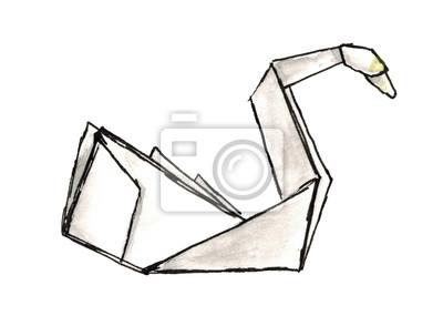Aquarell Skizze Schwan origami isoliert