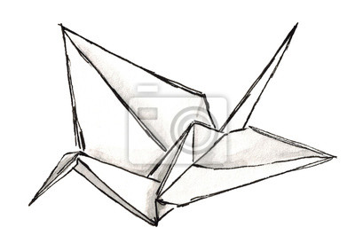 Aquarell skizze shadoof origami isoliert