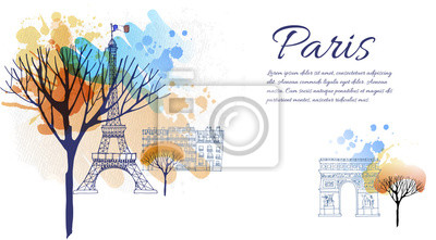 Aquarell Vektor Hintergrund der Stadt Paris