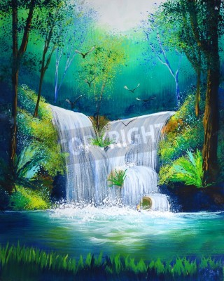 Poster Aquarell von Wasserfall