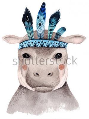 Poster Aquarellflusspferdportrait, nettes Boho-Design mit Federn. Kindergarten druckt mit Tieren, Postern und Postkarten.