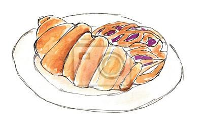 Aquarellfrühstück Croissant und Kuchen mit einer Johannisbeere Art