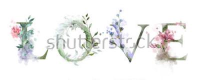 Poster Aquarellillustration mit wilden Blumen, Kräuter - Liebe. Cooler Druck auf T-Shirt. Jahrgang. Beschriftung