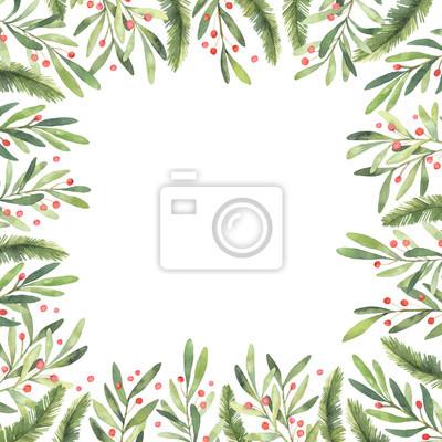 Frohe Weihnachten Rahmen.Poster Aquarellillustration Pre Made Weihnachten Rahmen Perfekt Für