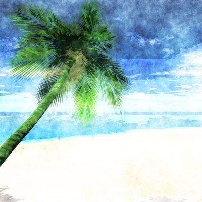 Poster Aquarellpalme auf Strand