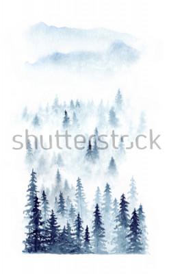 Poster Aquarellwinterlandschaft eines Waldes im Nebel. Fichten lokalisiert auf weißem Hintergrund