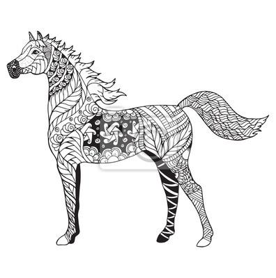Arabisches pferd zentangle stilisiert, vektor, illustration ...