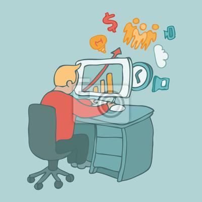 Arbeitsamt, Computer-, Vektor-Illustration