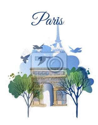 Arc de Triomph. Aquarell Vektor Hintergrund von Paris