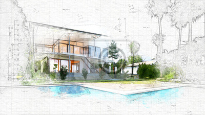 Poster architectural sketch of a house