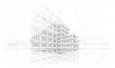 Poster Architecture background. Perspective 3d Wireframe of building design and model my own