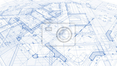 Poster Architecture design: blueprint plan - illustration of a plan modern residential building / technology, industry, business concept illustration: real estate, building, construction, architecture