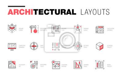 Poster Architektonische Layouts in modischer polygonaler Linienzusammensetzung. Dünne Ikonen von Gebäuden. Professionelle Projekte Zeichnung. Ehrfürchtige Konturgeometrieart mit Piktogramm der Zukunft für Ih