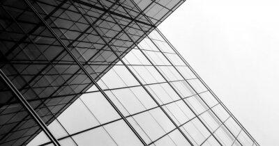 Poster Architektur der Geometrie am Glasfenster - einfarbig