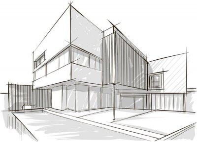 Poster Architektur-Skizze des Gebäudes