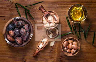 Argan Obst und Öl Zusammensetzung