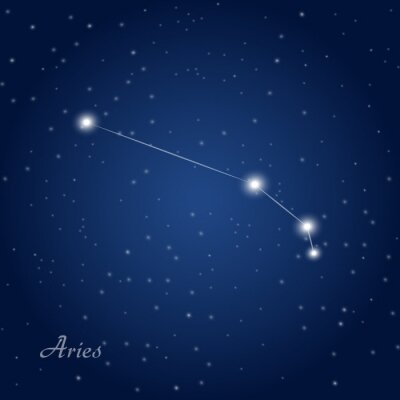 Poster Aries constellation zodiac sign at starry night sky