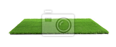 Poster Artificial grass carpet on white background. Exterior element