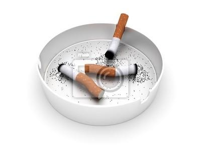 Poster Aschenbecher mit Zigarettenkippen