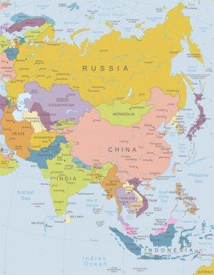 Poster Asia-hochdetaillierte map.Layers verwendet.