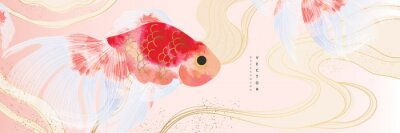 Poster Asian background ,Oriental Chinese and Japanese style abstract pattern background design  with goldfish decorate in water color texture