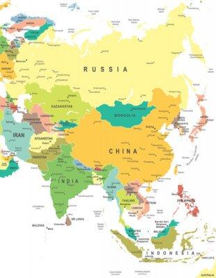 Poster Asien - Karte - Abbildung. Asia map - sehr detaillierte Vektor-Illustration.