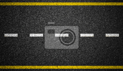 Poster Asphalt Autobahn mit Straßenmarkierungen Hintergrund