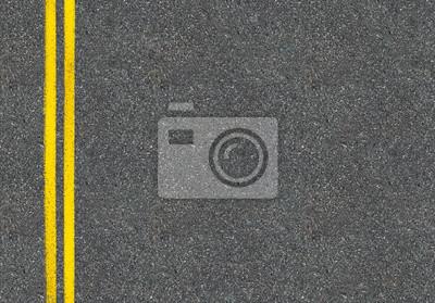 Poster Asphalt-Straße Ansicht von oben mit zwei gelben Linien