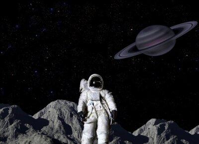 Poster Astronaut auf der Mondoberfläche