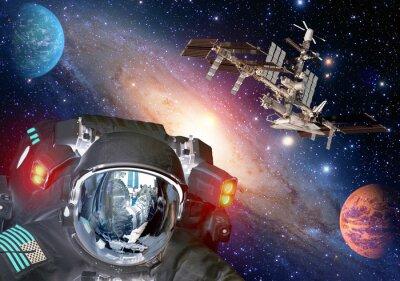 Poster Astronaut et alien extraterrestrische sci fi ufo Raumplaneten Raumschiff. Elemente dieses Bildes von der NASA eingerichtet.