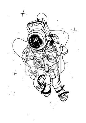 Poster Astronaut im Raumanzug. Kosmonaut in den Raum auf dem Hintergrund der Sterne. Vektor-Illustration.