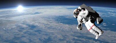 Poster Astronaut oder Kosmonaut fliegen auf Erden - 3D render