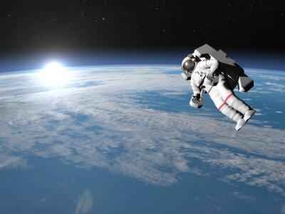 Poster Astronaut oder Kosmonaut fliegt auf die Erde - 3D übertragen
