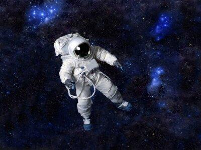 Poster Astronaut schwimmt im dunklen Raum.
