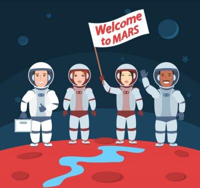 Poster Astronauten auf Mars. Willkommen zur mars.international Gruppe mit Markierungsfahne
