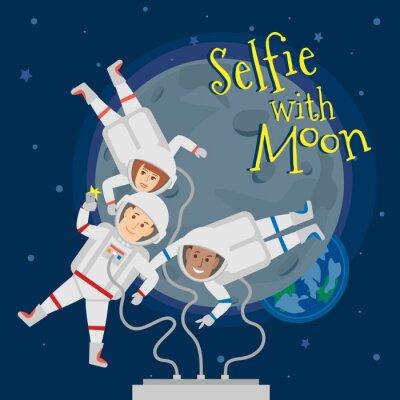 Poster Astronauten Männer und Frauen im Weltraum nehmen selfie Porträt mit Mond .selfie mit Mond Konzept Illustration