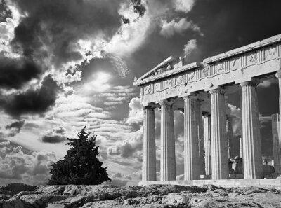Poster Athen - Die Akropolis und schöne Wolkenlandschaft