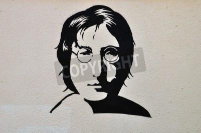 Poster Athen, Griechenland - 30. August 2014: John Lennon Porträt Schablonen-Graffiti Urban Art auf strukturierte Wand.