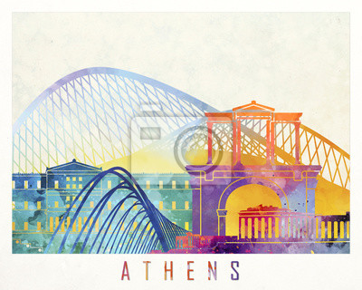 Athen Sehenswürdigkeiten Aquarell Poster