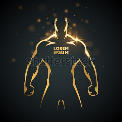 Poster Athlet Mann Gold Silhouette