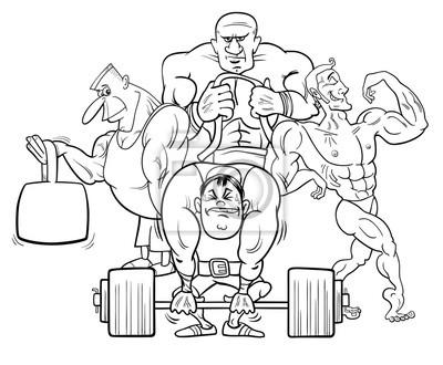Athleten im fitnessstudio cartoon farbe buch wandposter • poster ...