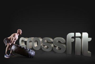 Poster Athletic junger Mann hebt einen Reifen auf dem schwarzen Hintergrund Motivational Fitness-Phrasen