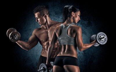 Poster Athletischer Mann und Frau mit einem Hanteln.